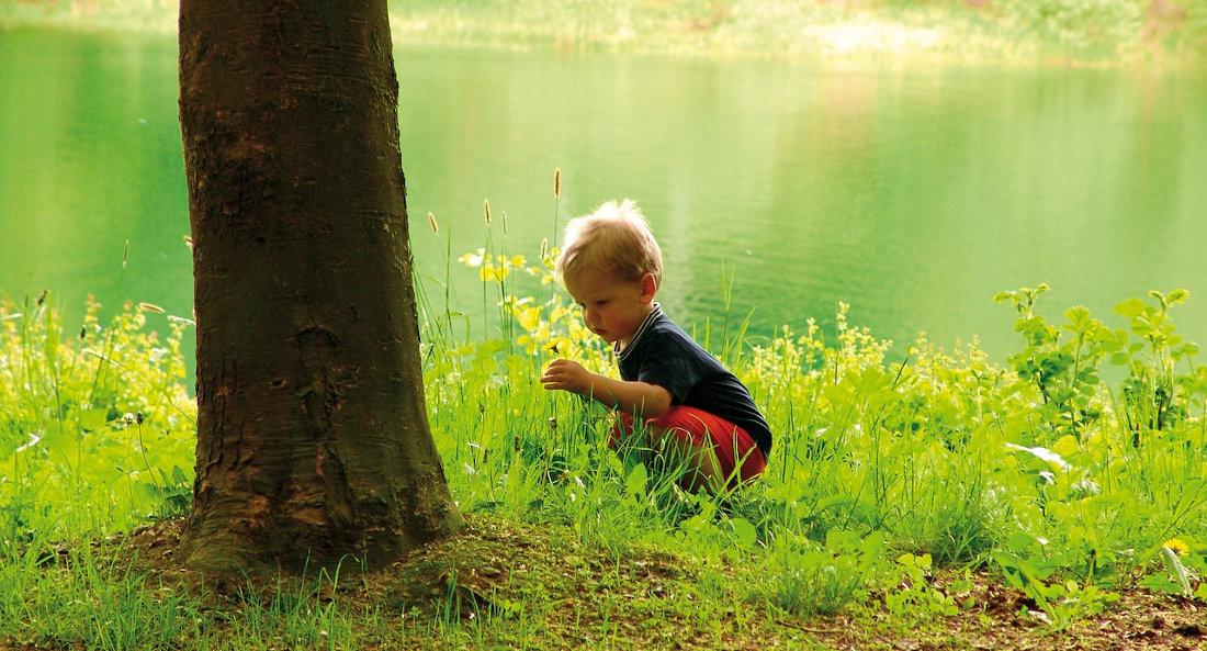 Kind an Baum vor See