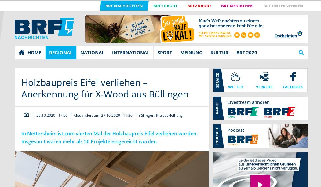 Belgischer Rundfunk berichtet über den Holzbaupreis Eifel 2020